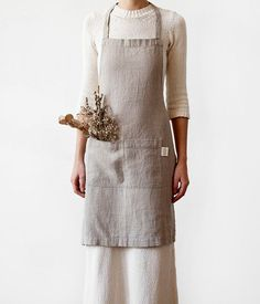 b06c736155 Natural Linen Kitchen Apron with Pockets   Rustic Apron   Linen Apron    Kitchen Apron   Handmade.