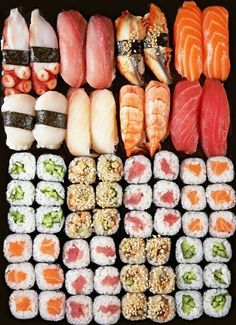 In love with this sushi platter. See more of my sushi adventures on… Sushi Recipes, Asian Recipes, Healthy Recipes, I Love Food, Good Food, Yummy Food, Sushi Comida, Sushi Food, Sushi Sushi
