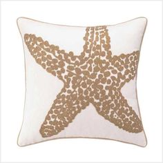 Creamy background with embroidered sea creature. Elegant rope like edge. Add a touch of elegance to your coastal living...