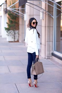 White jacket, denim and heels for a night on the town...