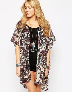 Band of Gypsies Mid Length Kimono in Paisley Print