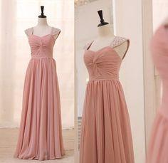 159.90$  Buy here - http://vioip.justgood.pw/vig/item.php?t=lj8uu6662 - Pink Long Chiffon Prom Dresses Cap Sleeves Beaded Pleat Women Dresses