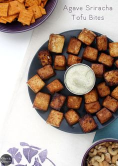 Sweet-and-spicy sriracha tofu bites are perfect dipped in creamy cashew ranch. Serve them as an appetizer or as party finger food.