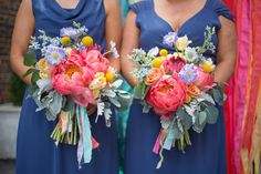 coral charm peony bouquets, photo by Alyssa Marie Photography http://ruffledblog.com/notwedding-kansas #weddingflowers #weddingbouquet #flowers