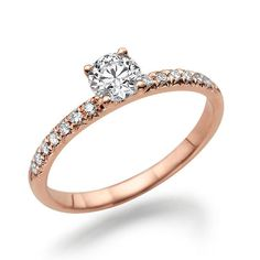 Unique Moissanite Engagement Ring, 14K Rose Gold Ring Accented Promise Ring, 0.64 TCW Forever Brilliant Moissanite