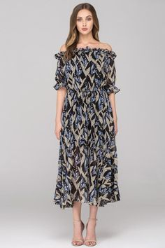 Black and Blue Lily of the Valley Off the Shoulder Maxi Dress