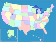 Interactive US map ... when you click on the outline of a state the map tells you the name of that state. Great for practice.