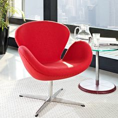 Shop Modway Furniture Wing Red Lounge Chair with great price, The Classy Home Furniture has the best selection of Chairs to choose from Metal Chairs, Cool Chairs, White Furniture, Unique Furniture, Egg Chair, Swivel Chair, Chair Cushions, Swan Chair, Star Wars