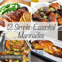 "12 ""Go To"" Marinades, condensed into one easy to reference guide! Ranging from a classic steak marinade, balsamic, Greek, Mexican, various Asian ones, a Middle Eastern marinade, an Italian and a quick Greek marinade."