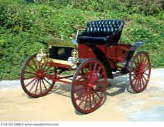 1908 Schacht Model K Runabout - Brothers William and Gustav Schacht made wagons and buggies and decided to attach a 2 cylinder gasoline motor to one of them powering the rear wheels w/ chain drive. They continued making cars in Cincinnati, Ohio until 1914 and made trucks until 1940.