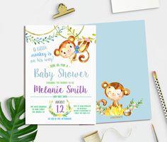 Little Monkey Baby Shower Invitation, Baby Shower Invitation Printable, Jungle…