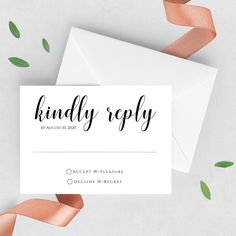 RSVP Wedding Card, RSVP Wedding Card Wording, Modern RSVP Wedding Card - Kindly Reply Simple Black and White - Simple Template to edit and print - for any event Wedding Card Wordings, Wedding Signs, Diy Wedding, Free Wedding Templates, Wedding Announcements, Save The Date Cards, Colorful Backgrounds, Rsvp
