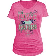 Chicago Cubs Pink Heathered Girls Tri-Blend V-Neck Shirt by 5th & Ocean   Sports World Chicago $24.95  @Chicago Cubs #ChicagoCubs