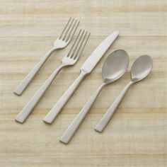 Clark 20-Piece Flatware Set  | Crate and Barrel. We already have these but somehow we only have 4 forks left and there should be 8! I didn't know forks had feet!!