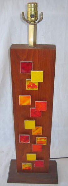 Antique Harris Strong Square Orange Yellow Huge Tiles Lamp Mid Century Modern #harrisstrong