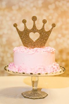 Cake Topper Princess Crown for Birthday Gold by ZCreateDesign