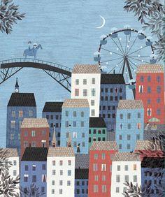 City scape/amusement park/bridge scene reminiscent of Cinderella...Beautiful!