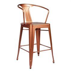 PoliVaz PV-M94520-26CO Tolix-style Copper Arm Counter Stool