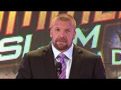 Triple H kicks off the SummerSlam 2013 Press Conference , I am a huge triple H fan but I never seen what he did last night coming , I was really happy that Daniel won , but randy deserves it too , tough one ! Summerslam 2013, Watch Wrestling, Triple H, Wwe Superstars, Conference, Kicks, Mac, Entertainment, Night