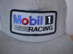 Vintage 70s MOBIL 1 RACING Corduroy Sewn Patch Trucker Cap Hat One Size Adjust