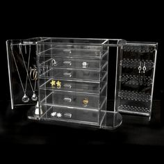 Clear Acrylic Jewelry Chest w/ Necklace Keeper