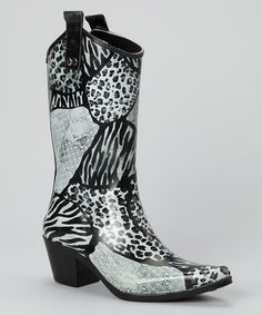 Take a look at this Black & White Urban Safari Rain Boot by Rain Bops by Beehive on #zulily today!