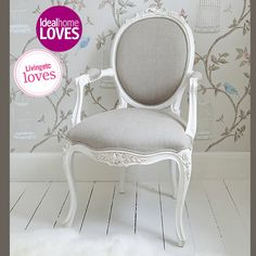 Gorgeous French chair - Love white + grey/beige linen