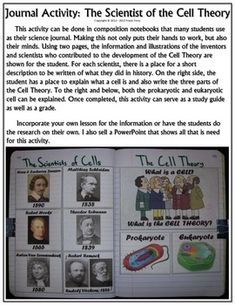 A great science journal activity that will provide some work for the students' hands and also their minds! Colorful and fun, students can use this to study the Cell Theory and the history behind it.