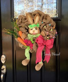 Bunny Burlap Wreath - Spring Easter