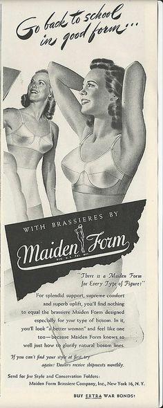 1944 MAIDENFORM BRA Women 'Go Back to School in Good Form' Vintage LINGERIE art Ad