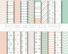 Modern Digital Paper, Peach, Mint, Taupe Geometric Patterns, Digital Background, Scrapbook Paper, Web Design, Card Design