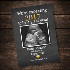 New Year's Pregnancy Announcement Card Pregnancy by EensyAva
