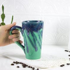 Ceramic Coffee mug, BlueRoomPottery Colorful Aqua Mint Green tea cup handmade pottery Kitchen gift