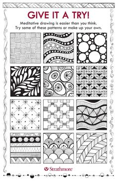 Meditative drawing is he process of creating patterned drawings by combining repetitive marks, circles, lines and forms to create small pieces of art is a great way to clear your mind, and let yourself become more focused and relaxed.  Get your FREE TEMPLATES to give it a try!