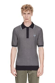 Fred Perry - Reissues Two Colour Textured Knitted Shirt Navy