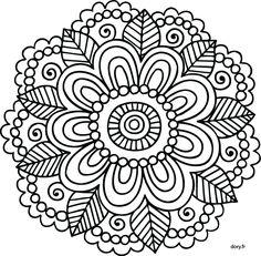 Coloriage de mandala facile 6 Plus
