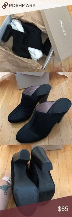 """Madewell black pony hair Andie clogs Worn twice, shoes no sign of wear (see pic of soles), gorgeous black pony hair clogs with a 3.5"""" heel and 0.5"""" platform. Jut a little high for me to walk in, I tried, 🤷🏻♀️ ! My loss is your gain! Ideal for festival season/festival fashion. Madewell Shoes Mules & Clogs"""
