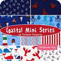 Coastal Mini Series Fat Quarter Bundle Timeless Treasures Fabrics - Fat Quarter Shop