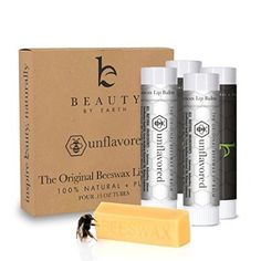 HOLIDAY SALE - Lip Balm The Original Unflavored & Unscented (4 pack) - Natural, Pure Beeswax Lip Care with Aloe Vera & Vitamin E - Condition and Repair Dry Chapped Lips. Made in the USA by Beauty by Earth