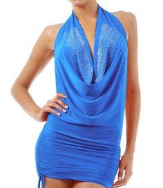 Sexy Club Party Evening Women Junior Blue Scoop Halter Neck Mini Dress Size M $ 78.99
