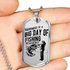 Gift for Dad Happiness is a Big Day of Fishing Keep Calm and Fish On Dog Tag Gift for Men Glass Coating, Unisex Gifts, Big Day, Gifts For Dad, Dog Tags, Keep Calm, Dog Tag Necklace, Gift Tags, Fishing