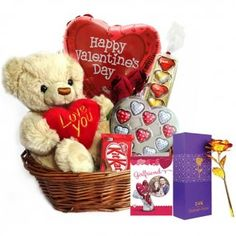 Gift Hampers Valentine's Day Gift Baskets, Gift Hampers, Handmade Chocolates, Mylar Balloons, Happy Valentines Day, Red Roses, Heart Shapes, Teddy Bear, Gift Baskets