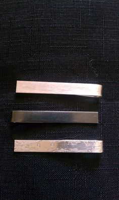 patinated / oxidized sterling silver tie clip / bar
