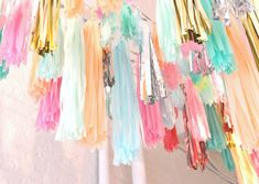 Party Decor: Pastel, neon and glitter Streamers.