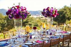 Mark Padgett Wedding Design - Featuring our Vineyard Tables, Gold Rim Chargers and China, Signature Glassware, and Fruitwood Chiavari Chairs.