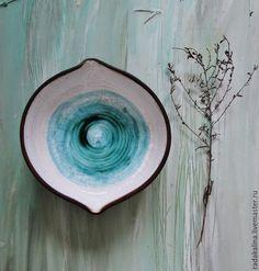 """Купить Пиала """"Глаз"""" - бирюзовый, белый, пиала, гончарная посуда, глазурь по керамике, керамика, воск"""