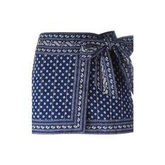 ISABEL MARANT ETOILE 'Lyne' Wrap Skirt (755 MYR) ❤ liked on Polyvore featuring skirts, mini skirts, black, short skirts, bandana print skirt, cotton wrap skirt, wrap skirt and short cotton skirts