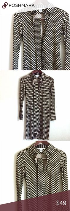 Diane Von Furstenberg DVF Khali Dress Diane Von Furstenberg DVF Khali Silk Dress. With belt. Buttons down front. Long sleeved. Collar. Size 4. Comfy and elegant fit! Diane von Furstenberg Dresses