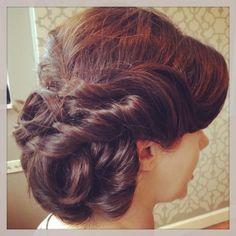 twisted side bridal updo/ wedding hair