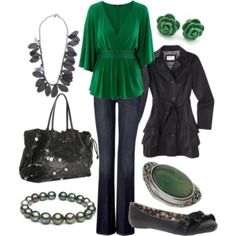 I love this shade of green; though I would go for ankle boots instead of the ballet slippers.